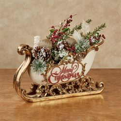 Merry Christmas Sleigh Accent Ivory