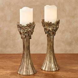 Poinsettia Candleholders Gold Pair