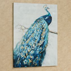 Le Plume Peacock Canvas Wall Art Blue
