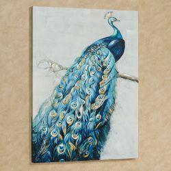 Le Plume Peacock Canvas Wall Art Blue