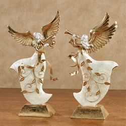 Winters Elegance Angel Figurines Ivory/Gold Set of Two