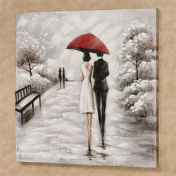 Rainy Stroll Canvas Wall Art Black/White