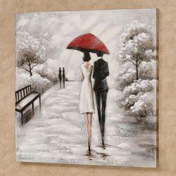 Rainy Stroll Canvas Wall Art Black/White