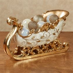 Winters Elegance Sleigh Accent Ivory/Gold