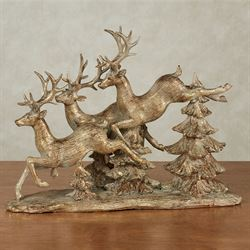 Reindeer Flight Table Sculpture Gold