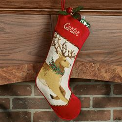 Heirloom Reindeer Stocking Brown