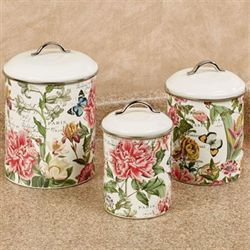 Peony Kitchen Canisters Pink Set of Three