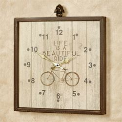 Life Is a Beautiful Ride Wall Clock Brown
