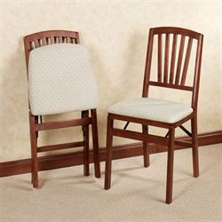 Fan Back Folding Chair Pair  Set of Two