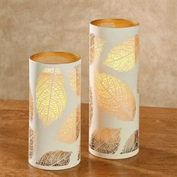 Luminary Leaf LED Flameless Candles Ivory Set of Two