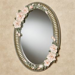 Magnolia Elegance Oval Wall Mirror Champagne Gold
