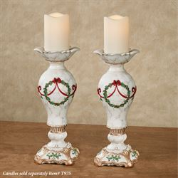 Holly Delight Candleholders Red Pair