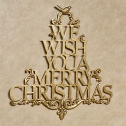 We Wish You a Merry Christmas Wall Art Satin Gold