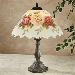 Romantic Roses Table Lamp Multi Pastel Each with LED Bulb