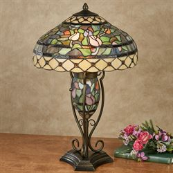Tabitha Stained Glass Table Lamp Multi Pastel Each with LED Bulbs