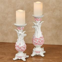 Victorian Rose Candleholders Pink Set of Two