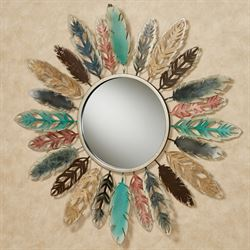 Feathered Mirror Wall Art Multi Earth