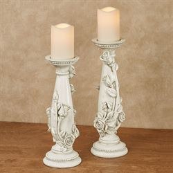 Rose Melody Candleholders Antique White Set of Two