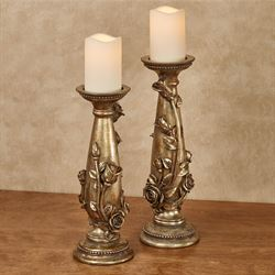 Rose Melody Candleholders Venetian Gold Set of Two