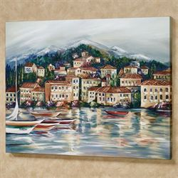 Portofino Harbor Canvas Wall Art Multi Warm