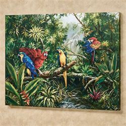 Tropic Parrots Canvas Wall Art Multi Bright