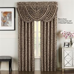 Astoria Scroll Damask Tailored Curtain Pair Coffee 98 x 84