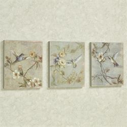 Costas Hummingbird Wall Plaques Multi Pastel Set of Three