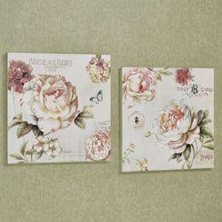 Flower Garden Wall Art Plaques Multi Pastel Set of Two