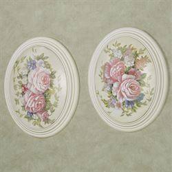 Floral Bouquet Wall Plaques Multi Pastel Set of Two