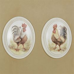 Farmyard Roosters Wall Plaques Multi Warm Set of Two