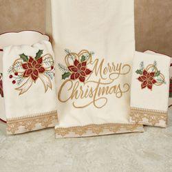 Poinsettia Palace Bath Towel Set Light Cream Bath Hand Fingertip