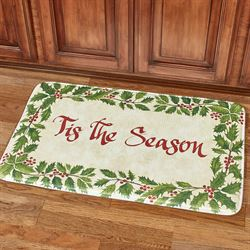 Tis the Season Cushioned Rectangle Christmas Mat Green 35 x 22