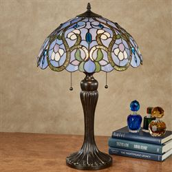 Piper Paisley Stained Glass Table Lamp Bronze Each with LED Bulbs