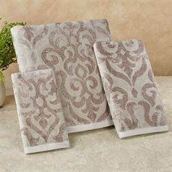 Sicily Bath Towel Set Silver Gray Bath Hand Fingertip