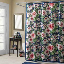 Nara Floral Indigo Blue Shower Curtain By Croscill