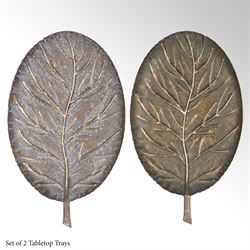 Elegant Leaf Decorative Trays Multi Metallic Set of Two