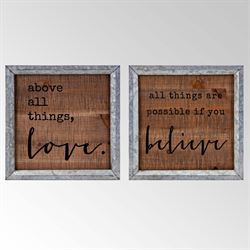 Believe in Love Framed Wall Art Brown Set of Two