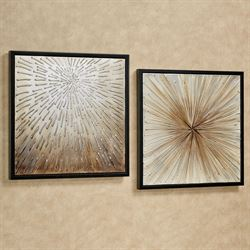 Abstract Canvas Framed Wall Art Multi Metallic Set of Two
