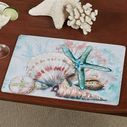 Watercolor Shells Hardboard Placemats Multi Pastel Set of Four