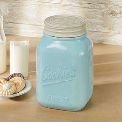 Vintage Farmhouse Cookie Jar Pastel Blue
