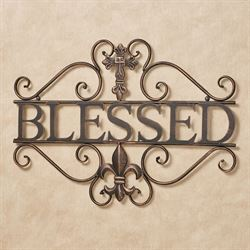 Blessed Beyond Word Wall Art Black/Bronze