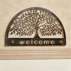Welcome Family Tree Arched Wall Sign Black Brown