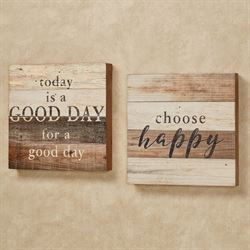 Happy and Good Day Box Wall Plaque Signs Multi Earth Set of Two