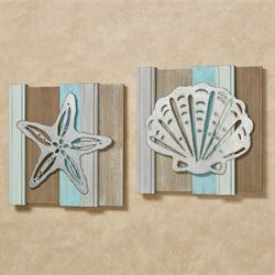 Seashell Wall Plaques Multi Cool Set of Two