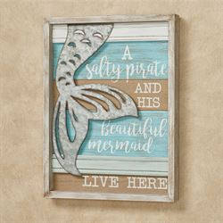 Salty Pirate and Mermaid Wall Plaque Multi Cool