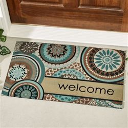 Floral Mix Welcome Doormat Teal 30 x 18