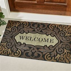 Scroll Border Welcome Doormat Black 35 x 23