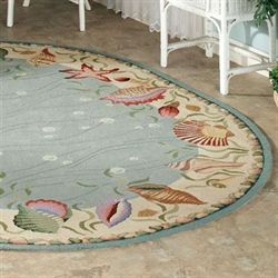 Ocean Surprise Oval Rug Blue/Ivory