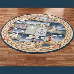 Coastal Views Round Rug Blue 76 Round