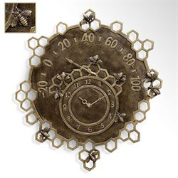 Honeycomb Bees Outdoor Wall Clock Antique Gold